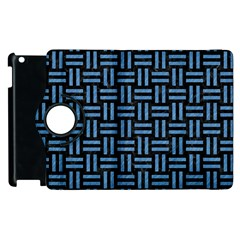 Woven1 Black Marble & Blue Colored Pencil Apple Ipad 3/4 Flip 360 Case by trendistuff