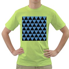 Triangle3 Black Marble & Blue Colored Pencil Green T Shirt by trendistuff