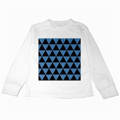 Triangle3 Black Marble & Blue Colored Pencil Kids Long Sleeve T Shirt by trendistuff