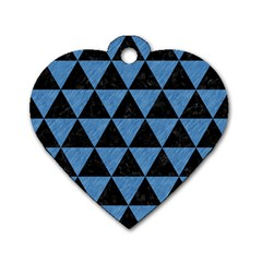 Triangle3 Black Marble & Blue Colored Pencil Dog Tag Heart (one Side) by trendistuff