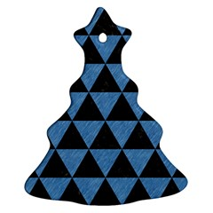 Triangle3 Black Marble & Blue Colored Pencil Ornament (christmas Tree)  by trendistuff