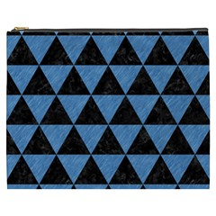 Triangle3 Black Marble & Blue Colored Pencil Cosmetic Bag (xxxl) by trendistuff