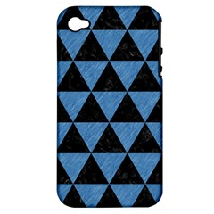 Triangle3 Black Marble & Blue Colored Pencil Apple Iphone 4/4s Hardshell Case (pc+silicone) by trendistuff