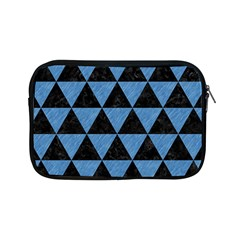 Triangle3 Black Marble & Blue Colored Pencil Apple Ipad Mini Zipper Case by trendistuff