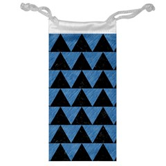 Triangle2 Black Marble & Blue Colored Pencil Jewelry Bag by trendistuff