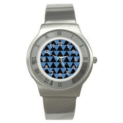 Triangle2 Black Marble & Blue Colored Pencil Stainless Steel Watch by trendistuff
