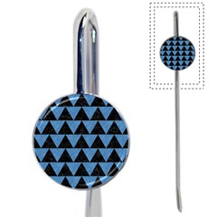 Triangle2 Black Marble & Blue Colored Pencil Book Mark by trendistuff