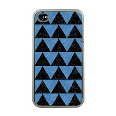 Triangle2 Black Marble & Blue Colored Pencil Apple Iphone 4 Case (clear) by trendistuff