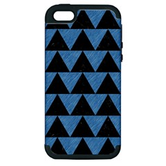 Triangle2 Black Marble & Blue Colored Pencil Apple Iphone 5 Hardshell Case (pc+silicone) by trendistuff