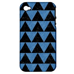 Triangle2 Black Marble & Blue Colored Pencil Apple Iphone 4/4s Hardshell Case (pc+silicone) by trendistuff
