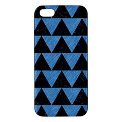 Triangle2 Black Marble & Blue Colored Pencil Apple Iphone 5 Premium Hardshell Case by trendistuff