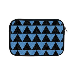 Triangle2 Black Marble & Blue Colored Pencil Apple Ipad Mini Zipper Case by trendistuff