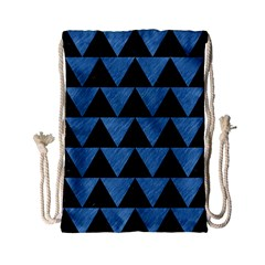 Triangle2 Black Marble & Blue Colored Pencil Drawstring Bag (small) by trendistuff