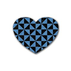 Triangle1 Black Marble & Blue Colored Pencil Rubber Heart Coaster (4 Pack) by trendistuff