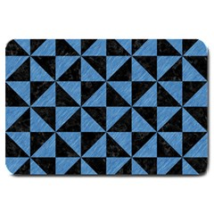 Triangle1 Black Marble & Blue Colored Pencil Large Doormat by trendistuff