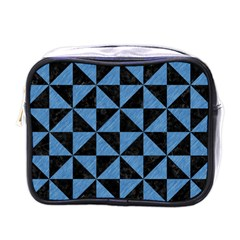 Triangle1 Black Marble & Blue Colored Pencil Mini Toiletries Bag (one Side) by trendistuff