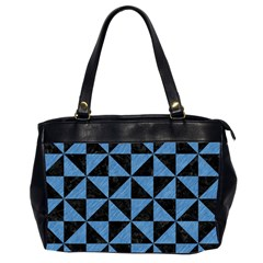 Triangle1 Black Marble & Blue Colored Pencil Oversize Office Handbag (2 Sides) by trendistuff