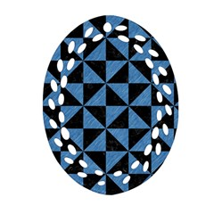 Triangle1 Black Marble & Blue Colored Pencil Oval Filigree Ornament (two Sides) by trendistuff
