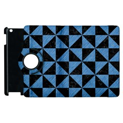 Triangle1 Black Marble & Blue Colored Pencil Apple Ipad 3/4 Flip 360 Case by trendistuff