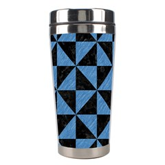 Triangle1 Black Marble & Blue Colored Pencil Stainless Steel Travel Tumbler by trendistuff