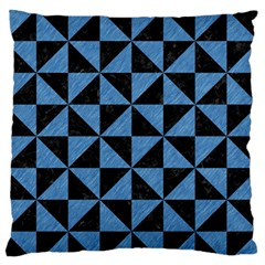 Triangle1 Black Marble & Blue Colored Pencil Large Flano Cushion Case (two Sides) by trendistuff