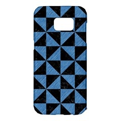 Triangle1 Black Marble & Blue Colored Pencil Samsung Galaxy S7 Edge Hardshell Case by trendistuff