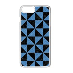 Triangle1 Black Marble & Blue Colored Pencil Apple Iphone 7 Plus White Seamless Case by trendistuff