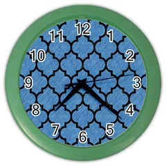 Tile1 Black Marble & Blue Colored Pencil (r) Color Wall Clock by trendistuff