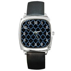 Tile1 Black Marble & Blue Colored Pencil Square Metal Watch by trendistuff