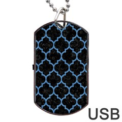 Tile1 Black Marble & Blue Colored Pencil Dog Tag Usb Flash (two Sides) by trendistuff