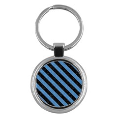 Stripes3 Black Marble & Blue Colored Pencil (r) Key Chain (round) by trendistuff