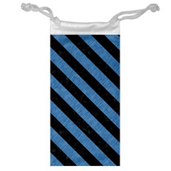 Stripes3 Black Marble & Blue Colored Pencil (r) Jewelry Bag by trendistuff