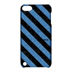 Stripes3 Black Marble & Blue Colored Pencil (r) Apple Ipod Touch 5 Hardshell Case With Stand by trendistuff