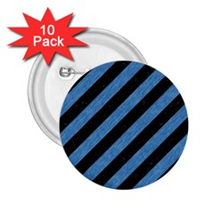 Stripes3 Black Marble & Blue Colored Pencil 2 25  Button (10 Pack) by trendistuff