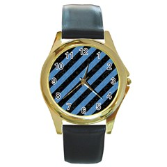 Stripes3 Black Marble & Blue Colored Pencil Round Gold Metal Watch by trendistuff