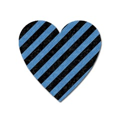 Stripes3 Black Marble & Blue Colored Pencil Magnet (heart) by trendistuff