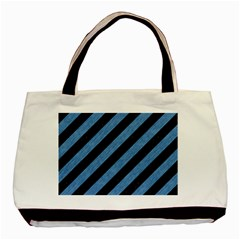 Stripes3 Black Marble & Blue Colored Pencil Basic Tote Bag (two Sides) by trendistuff