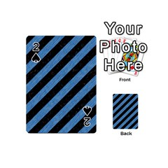 Stripes3 Black Marble & Blue Colored Pencil Playing Cards 54 (mini) by trendistuff