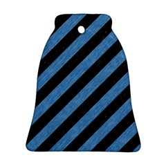 Stripes3 Black Marble & Blue Colored Pencil Ornament (bell) by trendistuff