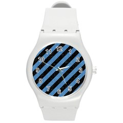 Stripes3 Black Marble & Blue Colored Pencil Round Plastic Sport Watch (m) by trendistuff