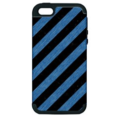 Stripes3 Black Marble & Blue Colored Pencil Apple Iphone 5 Hardshell Case (pc+silicone) by trendistuff