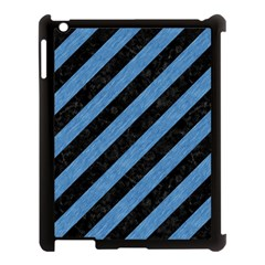 Stripes3 Black Marble & Blue Colored Pencil Apple Ipad 3/4 Case (black) by trendistuff