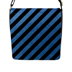 Stripes3 Black Marble & Blue Colored Pencil Flap Closure Messenger Bag (l) by trendistuff