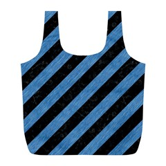 Stripes3 Black Marble & Blue Colored Pencil Full Print Recycle Bag (l) by trendistuff