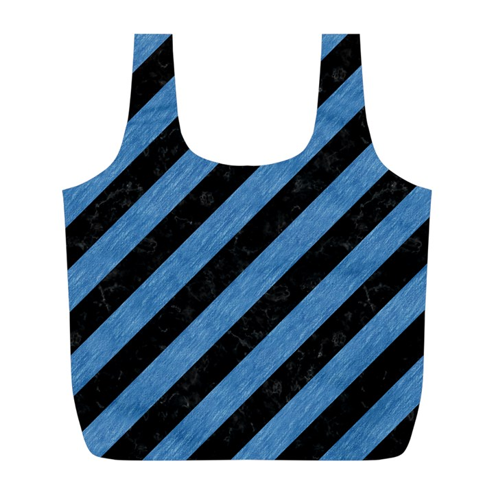 STRIPES3 BLACK MARBLE & BLUE COLORED PENCIL Full Print Recycle Bag (L)