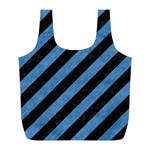 STRIPES3 BLACK MARBLE & BLUE COLORED PENCIL Full Print Recycle Bag (L) Back