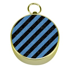 Stripes3 Black Marble & Blue Colored Pencil Gold Compass by trendistuff