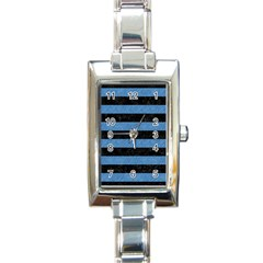 Stripes2 Black Marble & Blue Colored Pencil Rectangle Italian Charm Watch by trendistuff