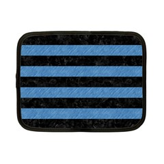 Stripes2 Black Marble & Blue Colored Pencil Netbook Case (small) by trendistuff