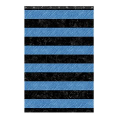 Stripes2 Black Marble & Blue Colored Pencil Shower Curtain 48  X 72  (small) by trendistuff